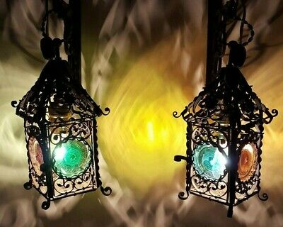 Antique Pair of Wrought Iron Lamps Lanterns Bullseye Glass GERMAN RARE!