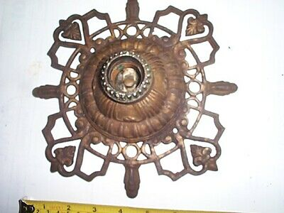 Antique Art Deco Nouveau Ceiling Light Flush Mount Fixture Cast Iron Original