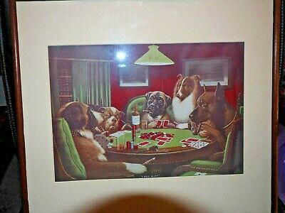 Dogs playing cards print framed