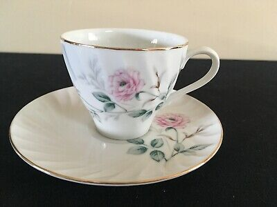 Vintage Norleans of Japan Pink Rose Pattern Bone China Cup & Saucer; FREE SHIP