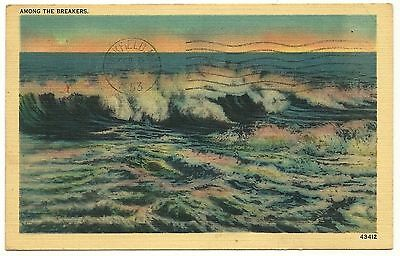 Connecticut Among the Breakers Waves Vintage Linen Postcard Postmarked 1953