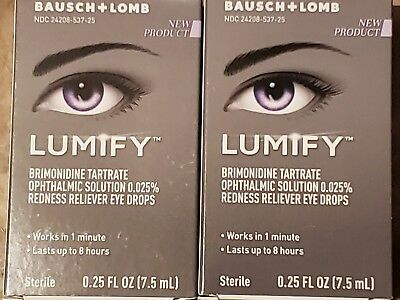 2 New Packs Bausch + Lomb Lumify Redness Reliever Eye Drops (0.25 fl.oz)