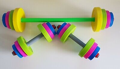 Mini Beast Company kids plastic gym/ crossfit toy weights barbell +dumbbells