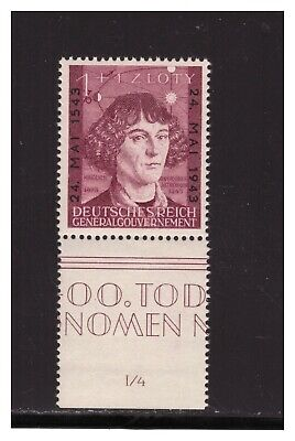 German 1943 Occupation Of Poland Mi.104 Copernicus From Sheet Mnh #4 Pg4