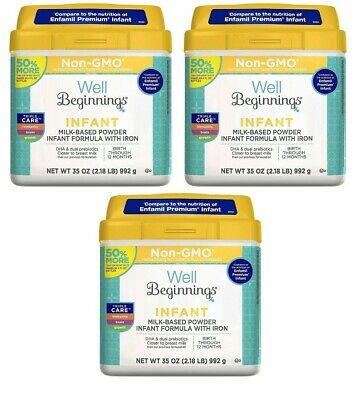 3 Well Beginnings Infant Formula 35oz. Tubs Compare to Enfamil Premium Infant