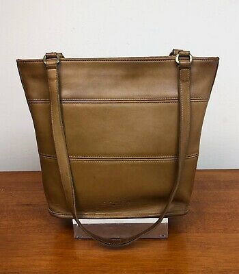 Vintage Coach Tribeca Leather Tote Bag British Tan Brown 9098 Shoulder USA MADE