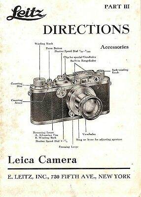 1938 Leica Camera Accessories How To Use Instruction Manual -Leica