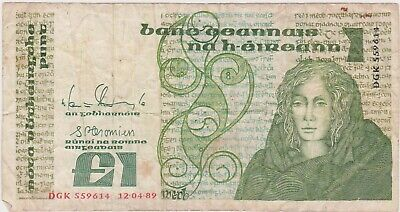 (N31-1) 1977 Ireland one pound bank note (A)