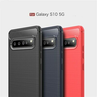 For Samsung Galaxy S10 5G Luxury Ultra Slim Carbon Fiber Rubber Soft Case Cover