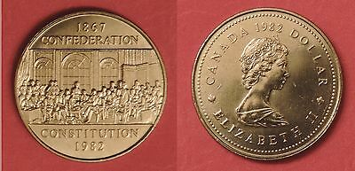 Brilliant Uncirculated 1982 Canada Constitution 1 Dollar From Mint's Roll