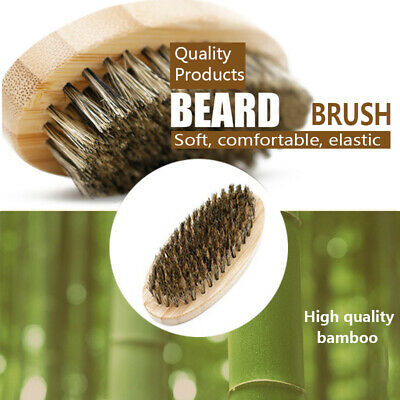 Natural Boar Bristle Beard Brush Mens Mustache Hair Shaving Facial Cleaning Comb