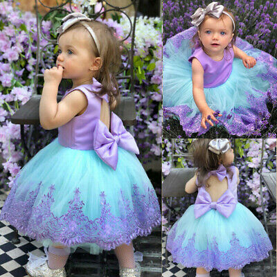 Princess Kids Baby Girls Pageant Party Formal Gown Tutu Bridesmaid Dress Summer