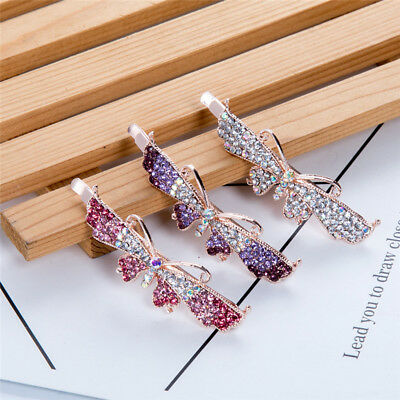 Women's Crystal Hair Clips Slide Grips Rhinestone Hairpin Bobby Pins Accessories