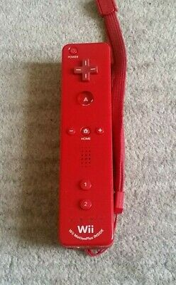 Official Nintendo Wii / Wii U Red Controller Remote Motion Plus Built In Inside