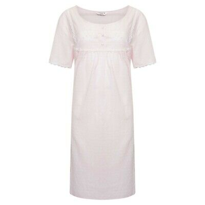 Ladies Short Sleeved 100% Cotton Dobby Spot Rose Pink Nightdress 12 - 26 Marlon