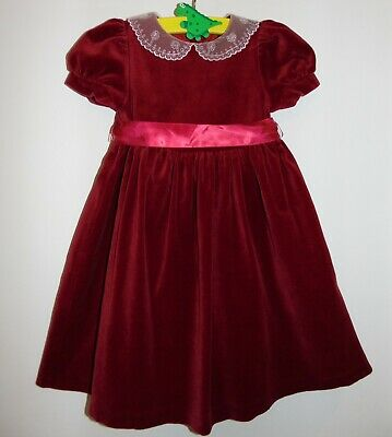Laura Ashley Vintage Mother & Child Velvet Lace Collar Girls Party Dress 2 Yrs