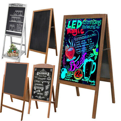 X Large Double Side Wooden Frame A-Board Pavement Sign Shop AD Floor Chalkboard