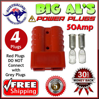 4 X RED 50Amp DC Anderson Style Plug 12v 24v Power Battery Charger Connector 50A