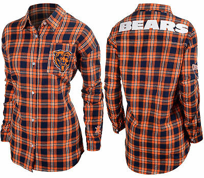 3ad1d64b FOREVER COLLECTIBLES NFL Women's Chicago Bears Check Long Sleeve Flannel  Shirt