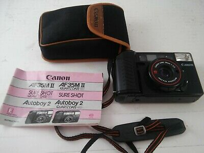 CANON Autoboy 2 AF35M II Sure Shot 35mm 2.8 prime lens W/Manual W/Case TESTED