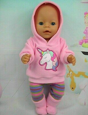 "Dolls clothes for 17"" Baby Born doll~PINK UNICORN HOODIE/STRIPED LEGGINGS/BOOTS"