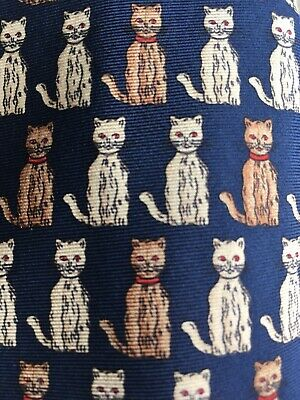 Vintage Liberty Of London Cats Men's Neck Tie 100% Silk Blue  Good Condition