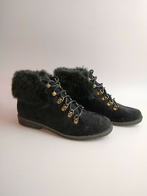 Womens Dorothy Perkins Black Faux Suede Lace Ankle Boots Uk 4 Eu 37
