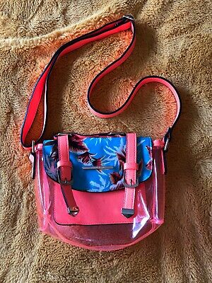 Girls womens River Island Hand Bag summer bright orange blue holiday beach party