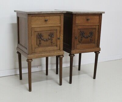 Pair of antique French vintage oak and marble top pot cupboards bedside cabinets