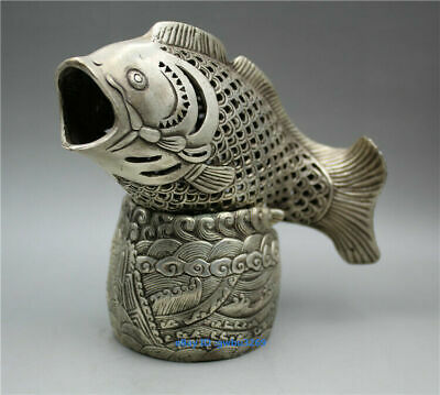 Chinese collection hand-carved Tibetan silver fish statue hollow Incense burner