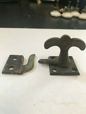 1 Antique Cast Iron  Arts Craft Craftsman Casement Window Door Latch Lock Catch