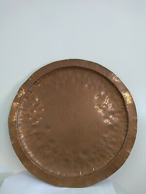Large Vintage Copper Hammered Plate 22 inches Display Platter Hand Beaten