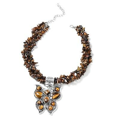 """Tigers Eye Black Oxidized Silvertone Pendant With Necklace for Women 18"""" Ct 736"""