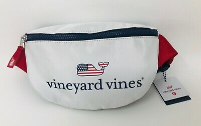 Vineyard Vines Target Flag Whale Fanny Pack America Red White & Blue USA IN HAND