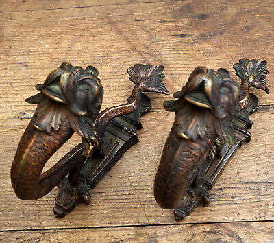 very rare 1800s french Antique  bronze tie backs curtain holders hooks
