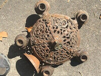 Antique Puritan 5 Light Fixture Hanging  Ceiling Cast Iron Spanish Mission
