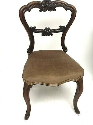 Antique Carved Walnut Balloon Back Chair - FREE Shipping [5198]