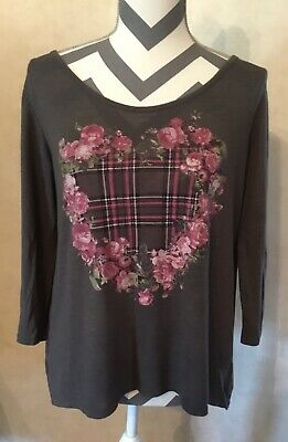 Large Self Esteem Gray Floral Heart Women's Blouse Open Back Floral Lining