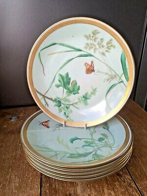 Set Of 6 Antique Mintons Aesthetic Movement Botanical Butterfly Cabinet Plates