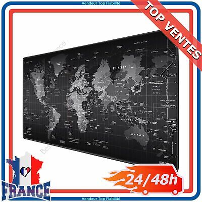 Grand Tapis de Souris Gaming XXL Antidérapant Carte du Monde Gamer PC Mac