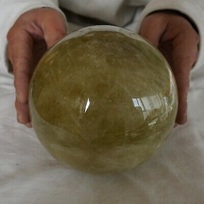 "10.52LB 5.9"" Natural Rainbow Citrine Quartz Crystal Sphere Ball Polished Healing"