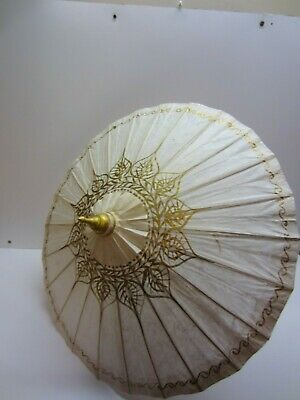"Vtg Japanese Rice Paper Bamboo Umbrella Parasol Gold 26"" Diameter"