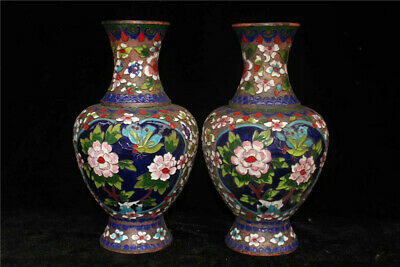 "10.24"" Collection Old Chinese copper Cloisonne painted flower Vase A pair"