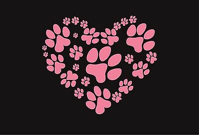 """Heart, paws, paw, car decal, window, love my pet, dog, cat, 8"""""""