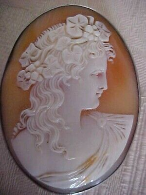 Antique Carved Shell Cameo Brooch Beautiful BACCHANTE  Silver Mount
