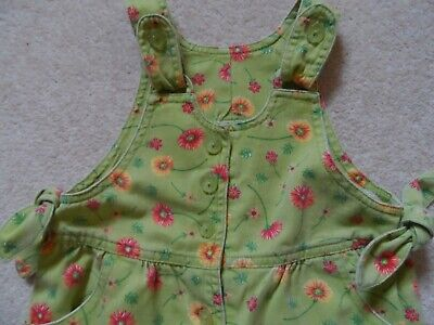 Adorable Vintage 90's Baby Girl Cotton Floral Summer Romper Dungarees 9 - 12m