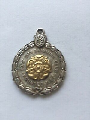 Antique English Hallmarked Sterling Silver Swimming Medallion