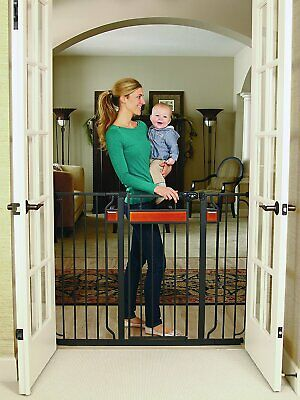 Regalo Home Accents Extra Tall and Wide Walk Thru Baby Gate, Includes Décor