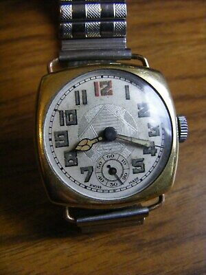 Unusual Vintage Cushion Case / Aztec Dial Art Deco Watch - Working but Needs TLC