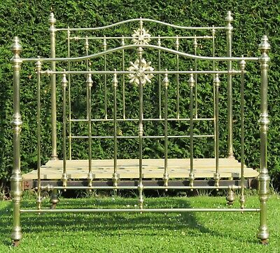 Superb Victorian Brass Standard Double Bed by Hoskins and Sewell with Slat Base
